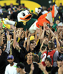 10/02/10-- The Duck mascot is lifted by fans after Oregon defeated Stanford 52-31 at Autzen Stadium in Eugene, Or..Photo by Jaime Valdez.......