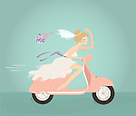 Illustration of bride throwing flower bouquet while riding scooter against blue background