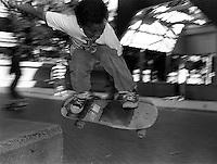 Skater kid, Justin Herman Plaza, 1987.   &amp;#xA;<br />
