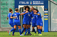 Manuela Giugliano celebrates with team mates after scoring the goal of 2-0<br /> Palermo 08-10-2019 Stadio Renzo Barbera <br /> UEFA Women's European Championship 2021 qualifier group B match between Italia and Bosnia-Herzegovina.<br /> Photo Carmelo Imbesi / Insidefoto