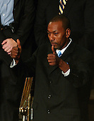"Washington, D.C. - January 23, 2007 -- Wesley Autrey, the 50 year-old construction worker who won the Bronze Medallion for saving a man who had fallen in a New York City subway station, flashes a ""thumbs-up"" to United States President George W. Bush after being introduced during the President's State of the Union Address to a joint session of the United States Congress at the Capitol in Washington, D.C. on January 23, 2007. .Credit: Ron Sachs / CNP"