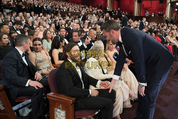 Jimmy Kimmel talks to Oscar&reg; nominee Casey Affleck during the live ABC Telecast of The 89th Oscars&reg; at the Dolby&reg; Theatre in Hollywood, CA on Sunday, February 26, 2017.<br /> *Editorial Use Only*<br /> CAP/PLF/AMPAS<br /> Supplied by Capital Pictures