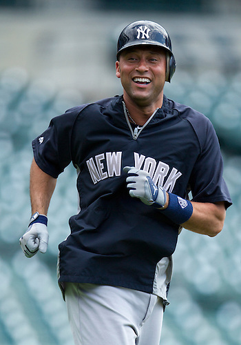 June 03, 2012:  New York Yankees shortstop Derek Jeter (2) during batting practice prior to MLB game action between the New York Yankees and the Detroit Tigers at Comerica Park in Detroit, Michigan.  The Yankees defeated the Tigers 5-1.