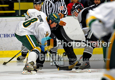 7 February 2009: University of Vermont Catamount forward and Team Captain Dean Strong, a Senior from Mississauga, Ontario, takes a faceoff against the Providence College Friars during the second game of a weekend series at Gutterson Fieldhouse in Burlington, Vermont. The Catamounts swept the 2-game series notching 4-1 wins in both games. Mandatory Photo Credit: Ed Wolfstein Photo