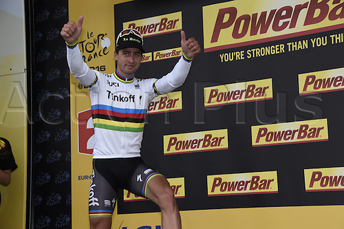 03.07.2016. Normandy, France. Tour de France Stage 2 from Saint-Lo to Cherbourg en-Cotentin.  Tinkoff; Sagan, Peter on the podium as race leader