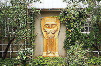 Golden relief of female angle in garden setting, New Gallery atrium, Saint-Gaudens National Historic Site, Cornish, Sullivan County, New Hampshire, US
