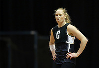 04.08.2015 Silver Ferns Laura Langman during Silver Ferns training ahead of the 2015 Netball World Champs at All Phones Arena in Sydney, Australia. Mandatory Photo Credit ©Michael Bradley.
