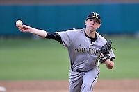 Pitcher Elliott Lance (31) of the Wofford College Terriers delivers a pitch in a game against the Clemson University Tigers on Tuesday, March 1, 2016, at Doug Kingsmore Stadium in Clemson, South Carolina. Clemson won, 7-0. (Tom Priddy/Four Seam Images)