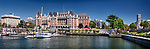 Panoramic city skyline of The Fairmont Empress historic hotel and harbour front in Victoria, Vancouver Island, British Columbia, Canada 2017,  National Historic Site of Canada.