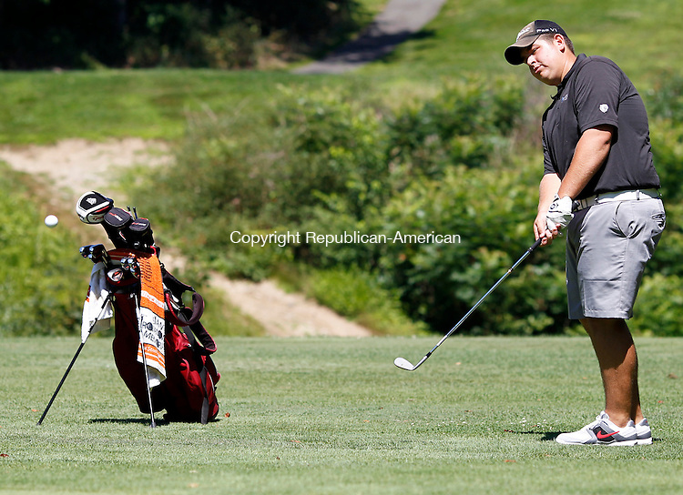 Waterbury, CT- 17, July 2011-071711CM06 Matt Trumbley chips onto the green during the Mayor's Cup held at East Mountain Golf Course Sunday morning in Waterbury.  Christopher Massa Republican-American