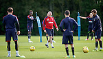 Mark Warburton commands the attention of his players at training this morning