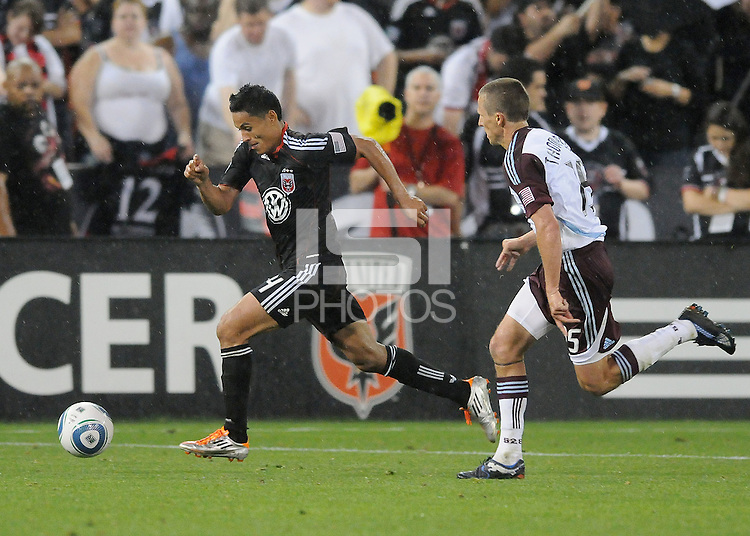 DC United midfielder Andy Najar (14) runs with the ball follow by Colorado Rapids midfielder Wells Thompson (15)    DC United tied The Colorado Rapids 1-1, at RFK Stadium, Saturday  May 14, 2011.