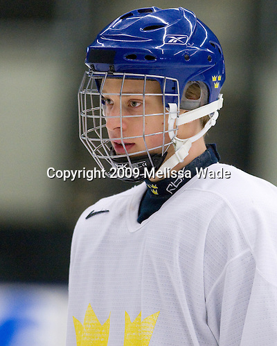 Adam Larsson (Sweden - 10) - Team Sweden practiced at the Urban Plains Center in Fargo, North Dakota, on Saturday, April 18, 2009 in the morning prior to their final match against the Czech Republic during the 2009 World Under 18 Championship.