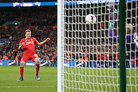 Lucas Leiva of Liverpool takes his penalty during a shoot out against Manchester City during the Capital One Cup match between Liverpool and Manchester City at Wembley Stadium, London, England on 28 February 2016. Photo by David Horn / PRiME Media Images.