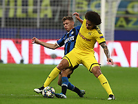 Football Soccer: UEFA Champions League -Group Stage- Group F Internazionale Milano vs Borussia Dortmund, Giuseppe Meazza stadium, October 23, 2019.<br /> Borussia Dortmund's Axel Witsel (r) in action with Inter's Nicolò Barella (l) during the Uefa Champions League football match between Internazionale Milano and Borussia Dortmund at Giuseppe Meazza (San Siro) stadium, on October 23, 2019.<br /> UPDATE IMAGES PRESS/Isabella Bonotto