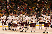 The Eagles salute their fans. - The Boston College Eagles defeated the Harvard University Crimson 3-2 in the opening round of the Beanpot on Monday, February 1, 2016, at TD Garden in Boston, Massachusetts.