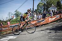 Belgian Champion Jolien D'Hoore (BEL/Mitchelton Scott) up the infamous Mur de Huy.<br /> <br /> <br /> 21st La Fl&egrave;che Wallonne Femmes <br /> 1 day race: Huy - Huy (118,5KM)