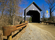 Best Covered Bridge on Churchill Road in Brownsville, Vermont USA. This bridge crosses over Mill Brook.
