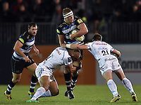Tom Ellis of Bath Rugby takes on the Exeter Chiefs defence. West Country Challenge Cup match, between Bath Rugby and Exeter Chiefs on October 10, 2015 at the Recreation Ground in Bath, England. Photo by: Patrick Khachfe / Onside Images