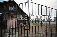 Entrance gates at Beccles Caxton FC Football Ground, Caxton Meadow, Beccles, Suffolk, pictured on 29th August 1995