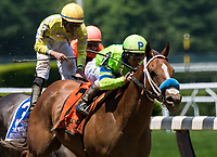 ELMONT, NY - JUNE 10: War Story #7, ridden by Javier Castellano, wins the Brooklyn Invitational Stakes on Belmont Stakes Day at Belmont Park on June 10, 2017 in Elmont, New York (Photo by Dan Heary/Eclipse Sportswire/Getty Images)
