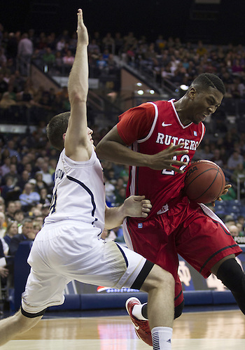 January 19, 2013:  Rutgers forward Kadeem Jack (22) drives to the basket as Notre Dame guard Pat Connaughton (24) defends during NCAA Basketball game action between the Notre Dame Fighting Irish and the Rutgers Scarlett Knights at Purcell Pavilion at the Joyce Center in South Bend, Indiana.  Notre Dame defeated Rutgers 69-66.