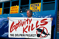 dolphin anti-captivity activist Ric O'Barry by Dolphin Freedom Bus, Coconut Grove, Florida