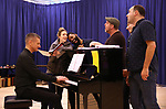 """James Moore, Jessie Mueller, Nicholas Ward, Todd Horman, Arlo Hill and Jimmy Smagula during """"The Music Man"""" Media Day Rehearsal at the New 42nd Street Studios on January 24, 2019 in New York City."""