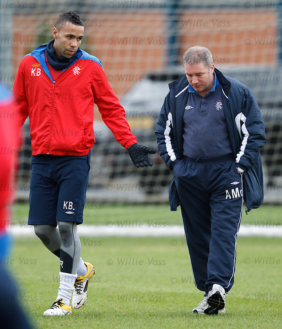 Kyle Bartley and Ally McCoist having a chat