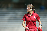 24 August 2014: Stanford assistant coach Nicole Van Dyke. The Duke University Blue Devils played the Stanford University Cardinal at Fetzer Field in Chapel Hill, NC in a 2014 NCAA Division I Women's Soccer match. Stanford won the game 2-0.
