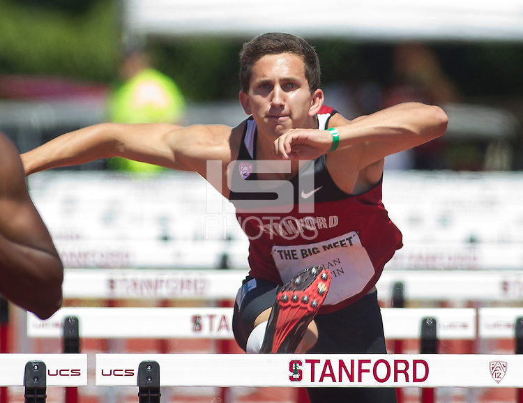 Stanford, CA., April 20, 2013,--Stanford's Adrian Austin runs in the 119 Big Meet at Cobb Track and Angell Field at Stanford University.