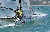 Jason Waterhouse &amp; Lisa Darmanin (AUS)<br /> Racing - Day 6 / Nacra 17<br /> ISAF Sailing World Cup - Melbourne<br /> Sandringham Yacht Club<br /> Thursday 11  December 2014<br /> &copy; Sport the library /  Jeff Crow