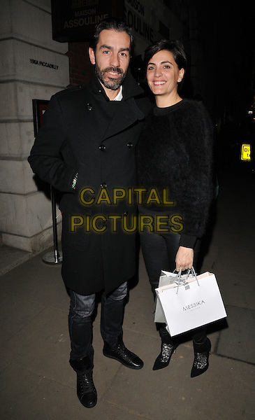 Robert Pires &amp; Jessica Lemarie attend the Messika by Vivienne Becker book launch party, Maison Assouline, Piccadilly, London, UK, on Wednesday 10 February 2016.<br /> CAP/CAN<br /> &copy;Can Nguyen/Capital Pictures