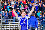 Templenoe captain Tadhg Morley lifts the cup after his team won the Junior County Final at Fitzgerald Stadium Killarney on Sunday.