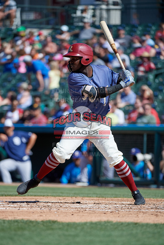 Frisco RoughRiders Michael De Leon (1) bats during a Texas League game against the Amarillo Sod Poodles on May 19, 2019 at Dr Pepper Ballpark in Frisco, Texas.  (Mike Augustin/Four Seam Images)