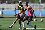 Getafe's Deyverson Da Silva (l) and Allan Nyom during training session. May 19,2020.(ALTERPHOTOS/Acero)