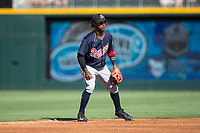 Gwinnett Braves shortstop Ozzie Albies (1) on defense against the Charlotte Knights at BB&T BallPark on July 16, 2017 in Charlotte, North Carolina.  The Knights defeated the Braves 5-4.  (Brian Westerholt/Four Seam Images)
