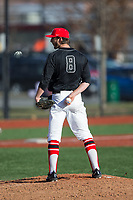 Rutgers Scarlet Knights starting pitcher Christian Campbell (8) looks to his catcher for the sign against the Iona Gaels at City Park on March 8, 2017 in New Rochelle, New York.  The Scarlet Knights defeated the Gaels 12-3.  (Brian Westerholt/Four Seam Images)