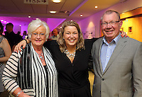 Pictured: Kate Rees (C) with her parents Thursday 08 April 2016<br />Re: Zimkids dinner at the Liberty Stadium, Swansea, UK