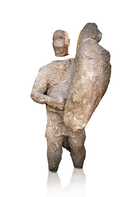 9th century BC Giants of Mont'e Prama  Nuragic stone statue of a boxer, Mont'e Prama archaeological site, Cabras. 2014 excavation. Civico Museo Archeologico Giovanni Marongiu - Cabras, Sardinia. White background