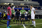 21 October 2016: Referee Nikola Aleksic (center) flips the coin for Duke captain Kevon Black (CAN) (left) and Notre Dame captain Matt Habrowski (right). The Duke University Blue Devils hosted the University of Notre Dame Fighting Irish at Koskinen Stadium in Durham, North Carolina in a 2016 NCAA Division I Men's Soccer match. Duke won the game 2-1 in two overtimes.