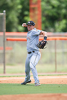 GCL Marlins third baseman Andrew Turner (26) throws to first base during a game against the GCL Mets on August 3, 2018 at St. Lucie Sports Complex in Port St. Lucie, Florida.  GCL Mets defeated GCL Marlins 3-2.  (Mike Janes/Four Seam Images)