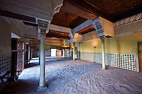 Arabesque Moorish architecture of the Mexuar administrative rooms in the Palacios Nazaries. Alhambra, Granada, Andalusia, Spain.