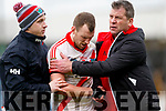 All Ireland Intermediate Club Semi-Final 27/1/2018<br /> An Ghaeltacht v Moy<br /> An Ghaeltacht's Colm O'Muircheartaigh is comforted by Dara O'Cinneide after the game <br /> Pic : Lorraine O'Sullivan