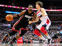 Chris Bosh of the Heat looks to score against Jan Vesely of the Wizards. Miami defeated Washington 106-89 at the Verizon Center in Washington, D.C. on Friday, February 10, 2012. Alan P. Santos/DC Sports Box