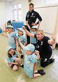 This image is free to use - A brand new coaching programme aims to turn cricket into one of Scotland's mainstream sports. Launched this week, All Stars Cricket aims to inspire five to eight year old children to take up the sport through a fun first experience of the game. The Cricket Scotland eight week programme begins in May and will see participating boys and girls develop their skills and make new friends in a safe and inclusive environment at one of the 50+ Scottish cricket clubs who have signed up to host and run the sessions. Registration is open from today with each child receiving a pack of cricket goodies including a cricket bat, ball, backpack, water bottle, personalised shirt and cap to keep so that they can continue their love of cricket when they go home. There will also be a chance for youngsters to meet current Scotland international players as part of All Stars Cricket, which will be led by fully trained and vetted activators at each club - picture shows Scotland batsman George Munsey (top) with Kirsty Openshaw from Cricket Scotland and some young fun cricketers at Mary Erskine School — for further information please contact Ben Fox, Media Manager, Cricket Scotland on 07825 172 348 or at benfox@cricketscotland.com - - picture by Donald MacLeod - 20.03.2017 - 07702 319 738 - clanmacleod@btinternet.com - www.donald-macleod.com