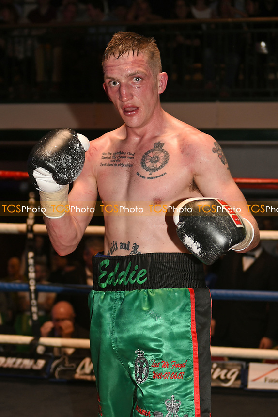 Ryan French (green shorts) defeats Jozsef Takas during a Boxing Show at York Hall on 11th March 2017