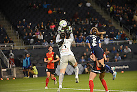 Kansas City, Kansas - Saturday April 16, 2016: Western New York Flash goalkeeper Sabrina D'Angelo (1) grabs a ball as FC Kansas City forward Shea Groom (2) attempts a header during the second half at Children's Mercy Park. Western New York won 1-0.
