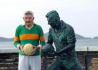 Legendary Kerry footballer and trainer Mick O'Dwyer (76) pictured recently beside a statue in his honour on the promonade in his native Waterville in County Kerry which was unveiled this year.  'The Great Micko' as he is affectionately known was ratified as trainer to  the Clare football team for the 2013 season. The holder of four All-Ireland medals, 12 Munster medals,  he previously trained Kerry, Kildare, Laois and Wicklow.<br /> Picture by Don MacMonagle<br /> <br /> (Photo taken Sepetember 2012) Permission given to Alf Foster for use on panels only.<br /> No other permission is sold with these images.<br /> As agreed between Alf and Don Oct 2 2014