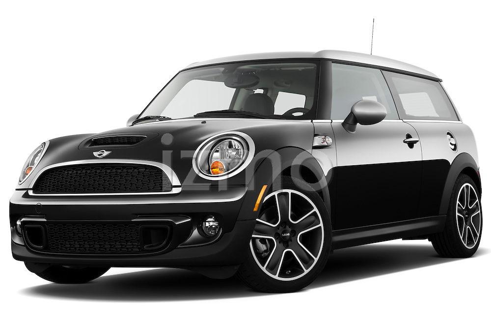 Low aggressive front three quarter view of a 2011 Mini Cooper Clubman S.